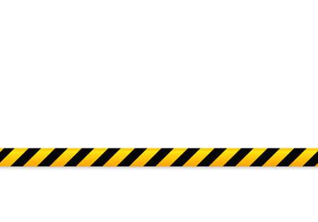 Lignes isolées d'isolation. Bandes d'avertissement réalistes. Signes de danger. Illustration vectorielle, isolée sur un fond cellulaire. Couleur jaune