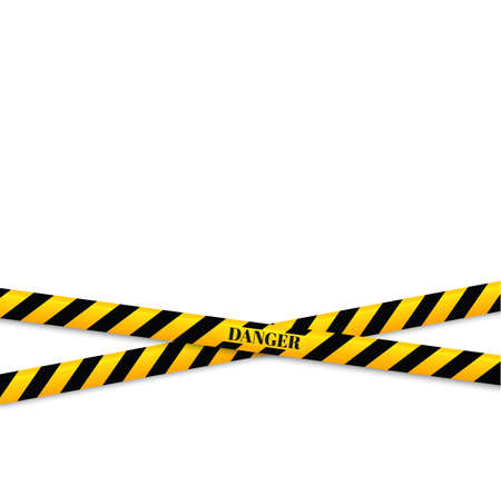 Isolated lines of insulation. Realistic warning tapes. Signs of danger. Vector illustration, isolated on a cellular background. Yellow color