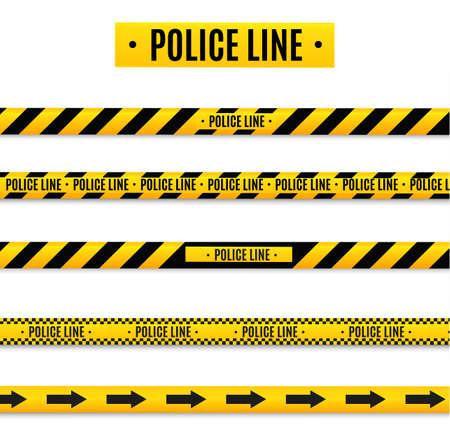 Ligne d'isolation isolée de la police. Bandes d'avertissement réalistes. Signes de danger. Illustration vectorielle isolée sur fond cellulaire. Jaune.
