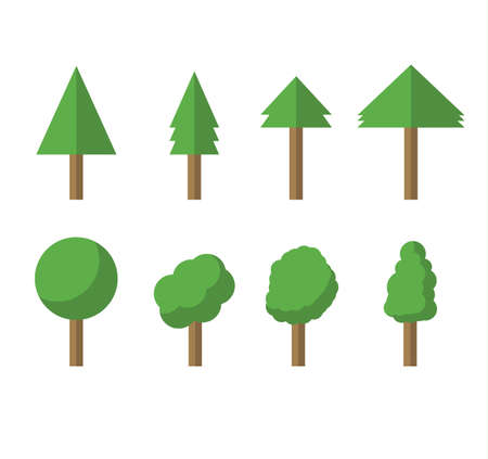 Collection of trees illustrations. Can be used to illustrate any nature or healthy lifestyle topic. Flowers, grass, big and small trees, leakage, bush, landscape, garden, park, elements.