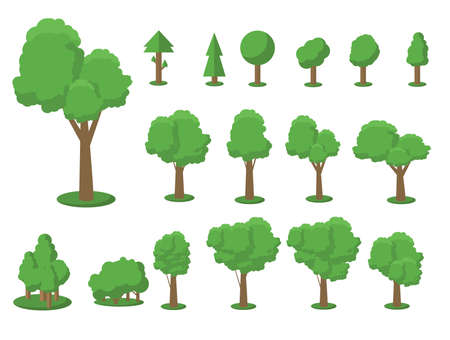 Collection of trees illustrations. Can be used to illustrate any nature or healthy lifestyle topic. Flowers, grass, big and small trees, leakage, bush, landscape, garden, park, elements. Vektorgrafik