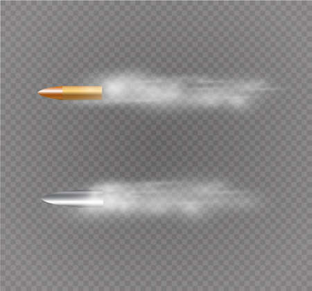 Bala voladora con rastro de polvo. Aislado sobre fondo negro transparente. Ilustración vectorial.