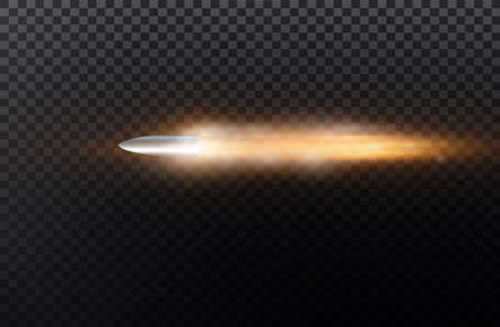 Flying bullet with dust trail. Isolated on black transparent background. Vector illustration. Иллюстрация