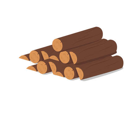 Wooden logs. Brown bark of felled dry wood. Purchase for construction. Vector illustration. A set of wooden straps for wood, an illustration of the industry of wood materials. Wood boards.