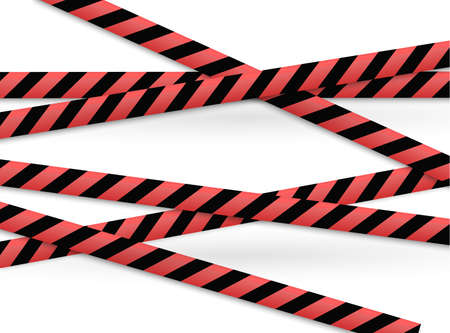 Isolated lines of insulation. Realistic warning tapes. Signs of danger. Vector illustration, isolated on a cellular background. Yellow color Standard-Bild - 104838964