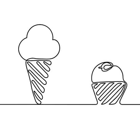 Ice cream is black. Continuous line drawing. Beautiful design for a black background. Vector illustration Vettoriali