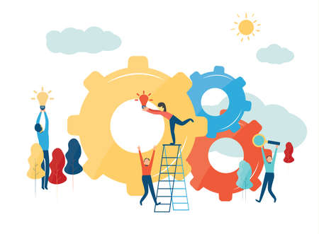 Vector creative illustration of business graphics, the company is engaged in the joint construction of column graphs, raising the career path to success,the concept of success and moving towards idea