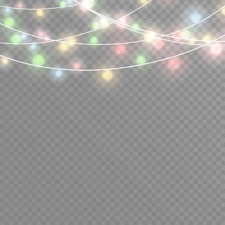 Christmas lights isolated realistic design elements. Glowing lights for Xmas Holiday cards, banners, posters, web design. Garlands decorations. Led neon lamp. Illustration