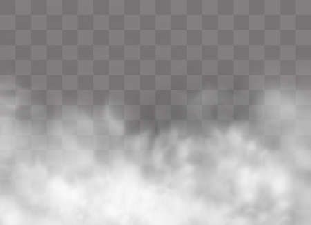 Transparent special effect stands out with fog or smoke. White cloud vector, fog or smog. Vector illustration. White gradient on a transparent background. Rainy weather on a transparent background. 免版税图像 - 108864603