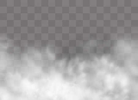 Transparenter Spezialeffekt fällt durch Nebel oder Rauch auf. Weißer Wolkenvektor, Nebel oder Smog. Vektorillustration. Weißer Farbverlauf auf transparentem Hintergrund. Regenwetter auf einem transparenten Hintergrund. Vektorgrafik