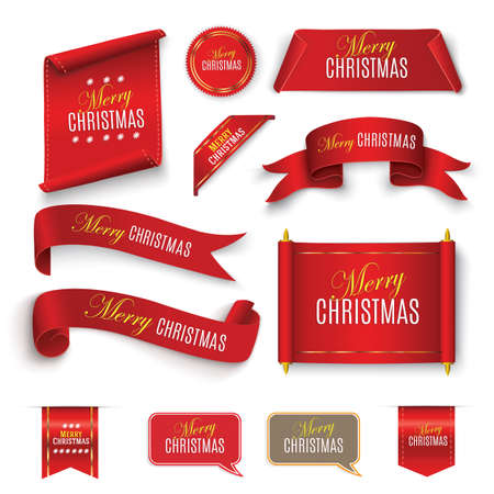 Merry Christmas Scroll red. realistic paper banners. Banner with a congratulation. Vector illustration.Merry christmas on a red scroll.