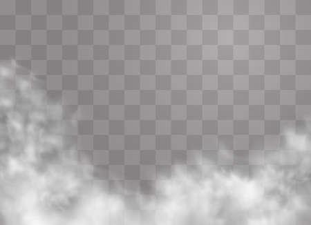 L'effetto speciale trasparente risalta con nebbia o fumo. Vettore nuvola bianca, nebbia o smog. Illustrazione vettoriale. Gradiente bianco su sfondo trasparente. Tempo piovoso su uno sfondo trasparente. Vettoriali