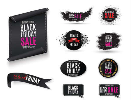 Black Friday. Web banner, logo, emblem and label. holiday sales on Friday.Vector abstract background texture design, bright poster, banner yellow background, blue and blue stripes and shapes