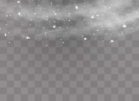 Snow and wind on a transparent background. White gradient decorative element.vector illustration.