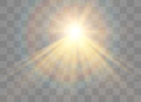 Sunlight on a transparent background. Glow light effects. Star flashed sequins. Sun glare on transparent background. the lens sparkles.