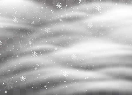 Snowfalls, snowflakes in different shapes and forms. Snowflakes, snow background. Christmas snow for the new year. Mountains of snow piled on the road. Иллюстрация