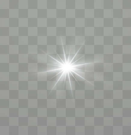White glowing light explodes on a transparent background. Sparkling magical dust particles. Bright Star. Transparent shining sun, bright flash. Vector sparkles. To center a bright flash. Illusztráció