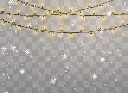 Snowfalls, snowflakes in different shapes and forms. Snowflakes, snow background. Christmas snow for the new year. Christmas lights isolated on transparent background. Xmas glowing garland.