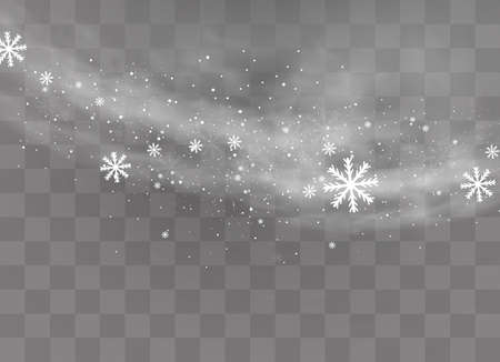 Snow and wind on a transparent background. White gradient decorative element.vector illustration. winter and snow with fog. wind and fog. Zdjęcie Seryjne - 114294803