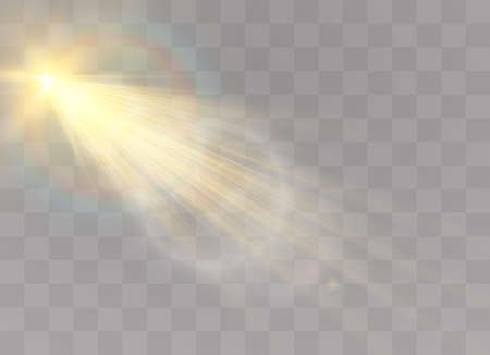 Vector transparent sunlight special lens flash light effect.front sun lens flash. Vector blur in the light of radiance. Element of decor. Horizontal stellar rays and searchlight.