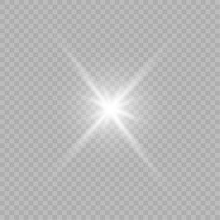 Glühen Sie isoliertes weißes transparentes Lichteffektset, Lens Flare, Explosion, Glitzer, Linie, Sonnenblitz, Funken und Sterne. Vektorgrafik