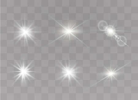 Ensemble d'effets de lumière transparents blancs isolés, lumière parasite, explosion, paillettes, ligne, flash solaire, étincelle et étoiles. Vecteurs