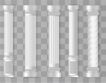 Antique white columns. Roman column, Greek pillar. Ancient architecture, Greece. Antique prehistoric. Vector illustration