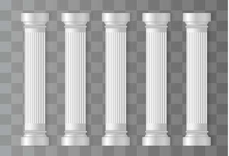 Antieke witte kolommen. Romeinse zuil, Griekse zuil. Oude architectuur, Griekenland. Antieke prehistorische. vector illustratie
