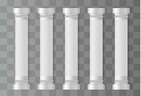Antique white columns. Roman column, Greek pillar. Ancient architecture, Greece. Antique prehistoric. Vector illustration