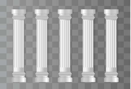 Colonnes blanches antiques. Colonne romaine, pilier grec. Architecture ancienne, Grèce. Préhistorique antique. Illustration vectorielle