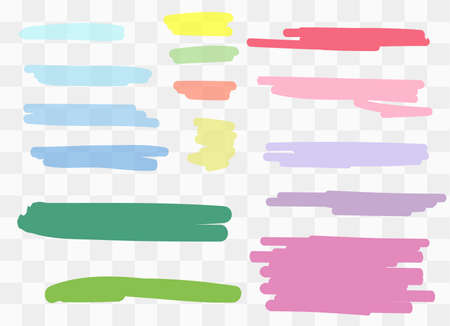 Vector markers. Drawn yellow marker stripes. multi-colored blots. Different colors vector blots. Illustration