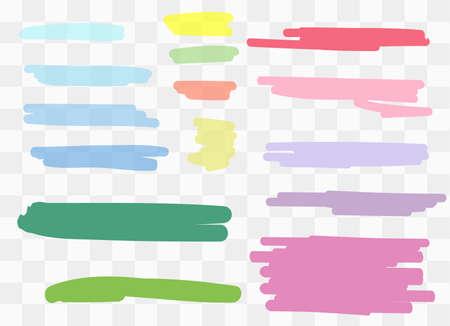Vector markers. Drawn yellow marker stripes. multi-colored blots. Different colors vector blots. Illusztráció