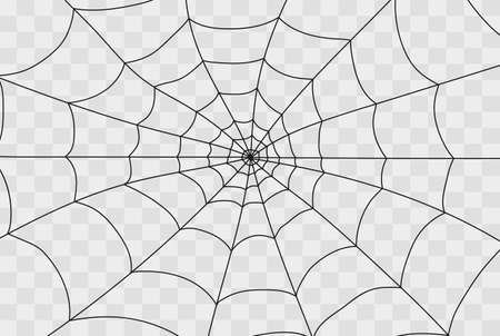 Cobweb isolated on white, transparent background. Cobweb elements, creepy, scary, horror halloween decor. Vector illustration Spider happy halloween party fun funny spooky logo Ilustração