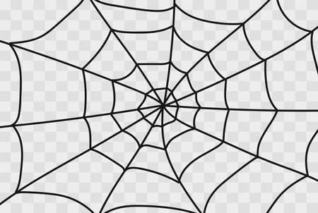Cobweb isolated on white, transparent background. Cobweb elements, creepy, scary, horror halloween decor. Vector illustration Spider happy halloween party fun funny spooky logo Stock Illustratie