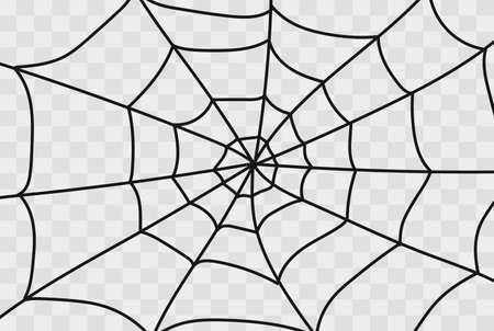 Cobweb isolated on white, transparent background. Cobweb elements, creepy, scary, horror halloween decor. Vector illustration Spider happy halloween party fun funny spooky logo Illustration