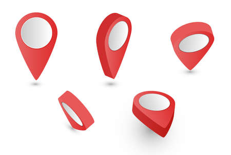 Map pointer. 3D Pointer red pin marker for travel location. Set of vector location icons on transparent background. Vector illustration. 向量圖像