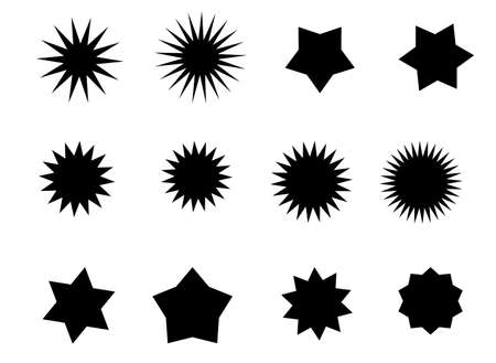 Vector black star. Price tag or quality label for an empty design template. Set of black stars. Vector