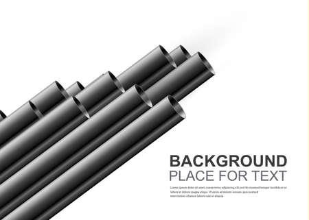 Steel or aluminum pipes are different. For advertising, design, website and magazine. Glossy 3d steel pipe design. Illustration
