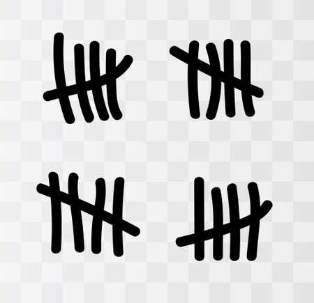 Marques de pointage sur le mur isolé. Compter les caractères. Illustration vectorielle de compter les jours de prison.