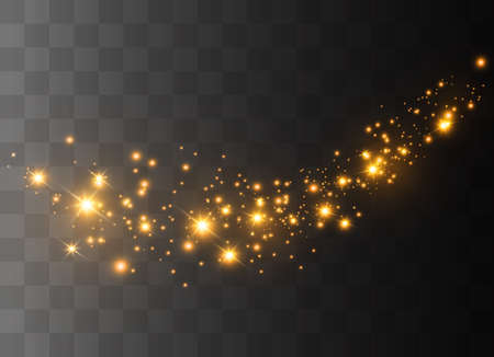 The dust is white.White sparks and golden stars shine with special light. Vector sparkles on a transparent background. Christmas light effect. Sparkling magical dust particles.