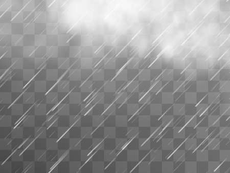 Rain storm and white clouds isolated on transparent background.