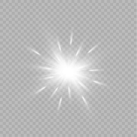 Light flare special effect with rays of light and magic sparkles. Glow transparent vector light effect set, explosion, glitter, spark, sun flash, burst. Ilustrace