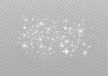 The dust is white.White sparks and golden stars shine with special light. Vector sparkles on a transparent background. Christmas light effect. Sparkling magical dust particles. Çizim