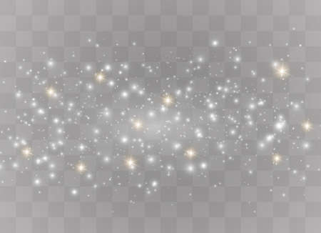 The dust is white.White sparks and golden stars shine with special light. Vector sparkles on a transparent background. Christmas light effect. Sparkling magical dust particles. Illustration