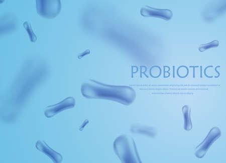 Probiotics bacteria vector illustration. Biology, science background. Medicine and treatment. Microscopic bacteria close-up. Illustration