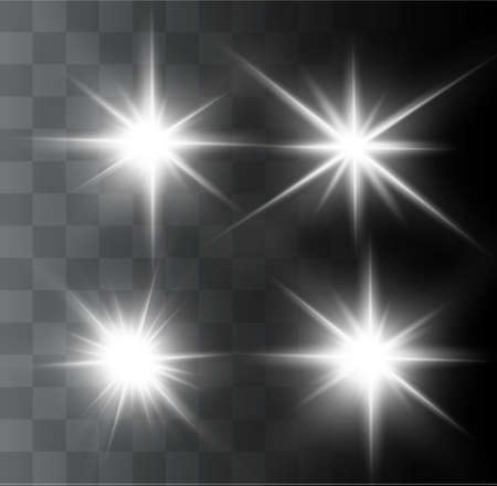 A beautiful glowing light explodes on a transparent background. Glittering magic dust particles. Bright Star. Transparent shining sun, bright flash. Vector sparkles. In the center of a bright flash.