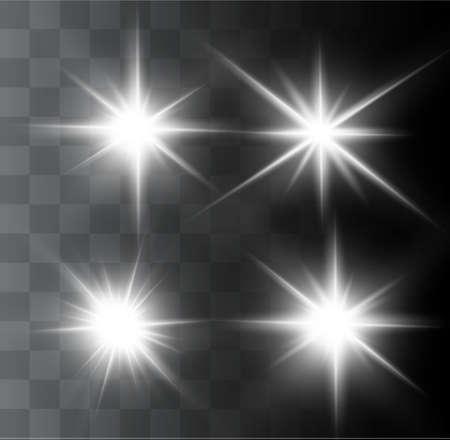 Een mooi gloeiend licht explodeert op een transparante achtergrond. Glinsterende magische stofdeeltjes. Heldere ster. Transparante stralende zon, felle flits. Vector schittert. In het midden van een heldere flits.