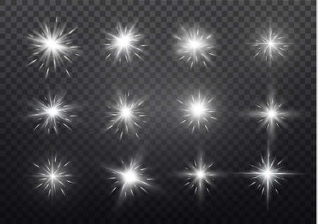 White glowing light explodes on a transparent background. Sparkling magical dust particles. Bright Star. Transparent shining sun, bright flash. Vector sparkles. To center a bright flash. Иллюстрация