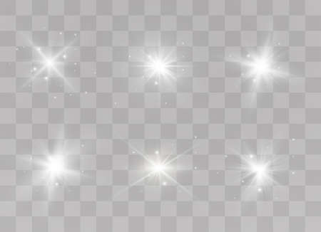 White glowing light explodes on a transparent background. Sparkling magical dust particles. Bright Star. Transparent shining sun, bright flash. Vector sparkles. To center a bright flash. 向量圖像