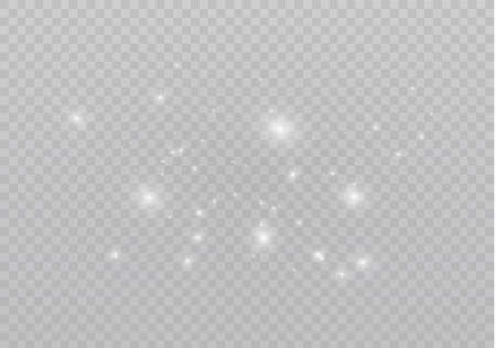 The dust is white.White sparks and golden stars shine with special light. Vector sparkles on a transparent background. Christmas light effect. Sparkling magical dust particles. Ilustrace